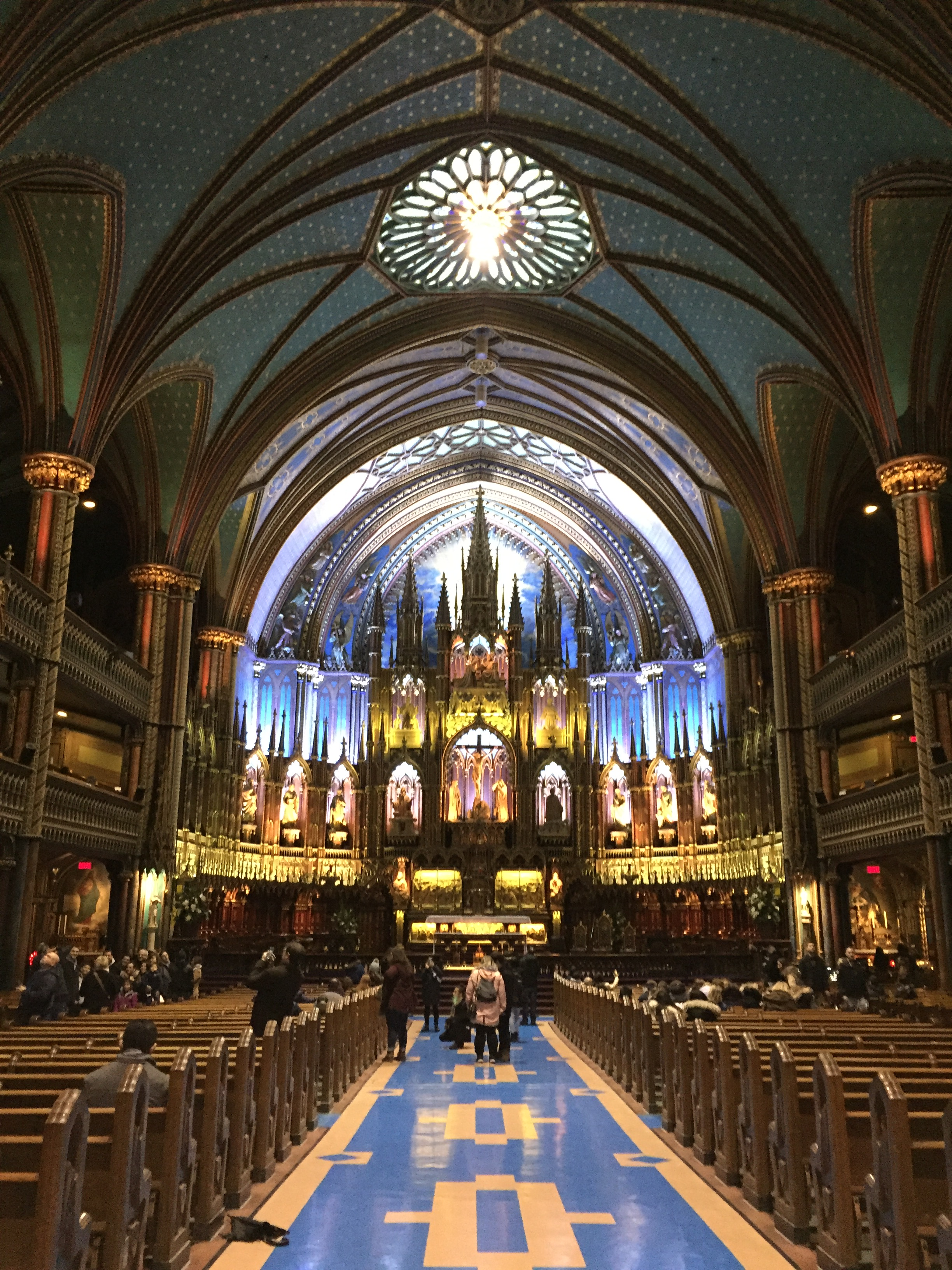 The interior of Notre Dame Basilica in Old Montreal, QC.