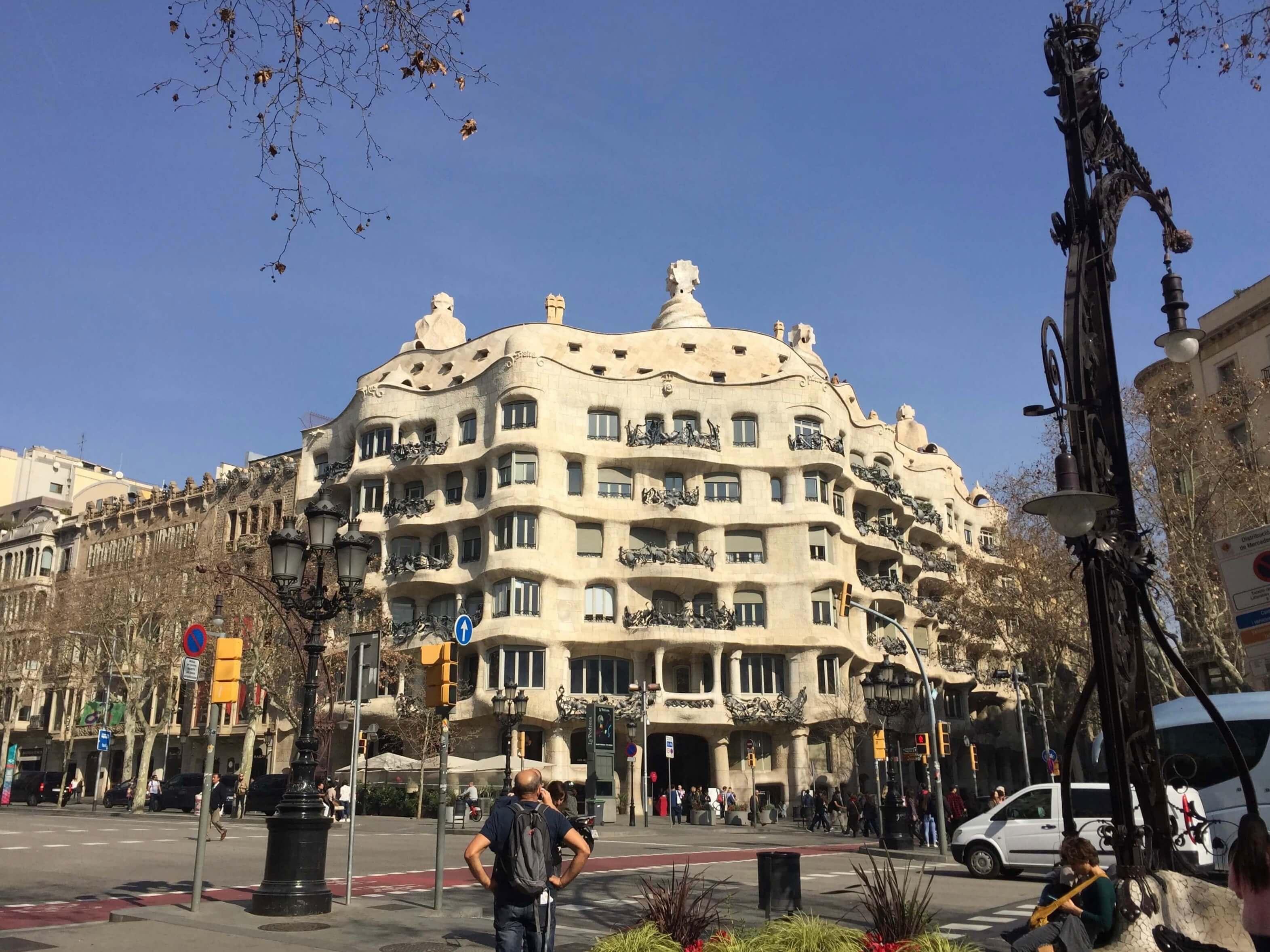 Frontal view of Gaudi's Casa Mila in Barcelona.