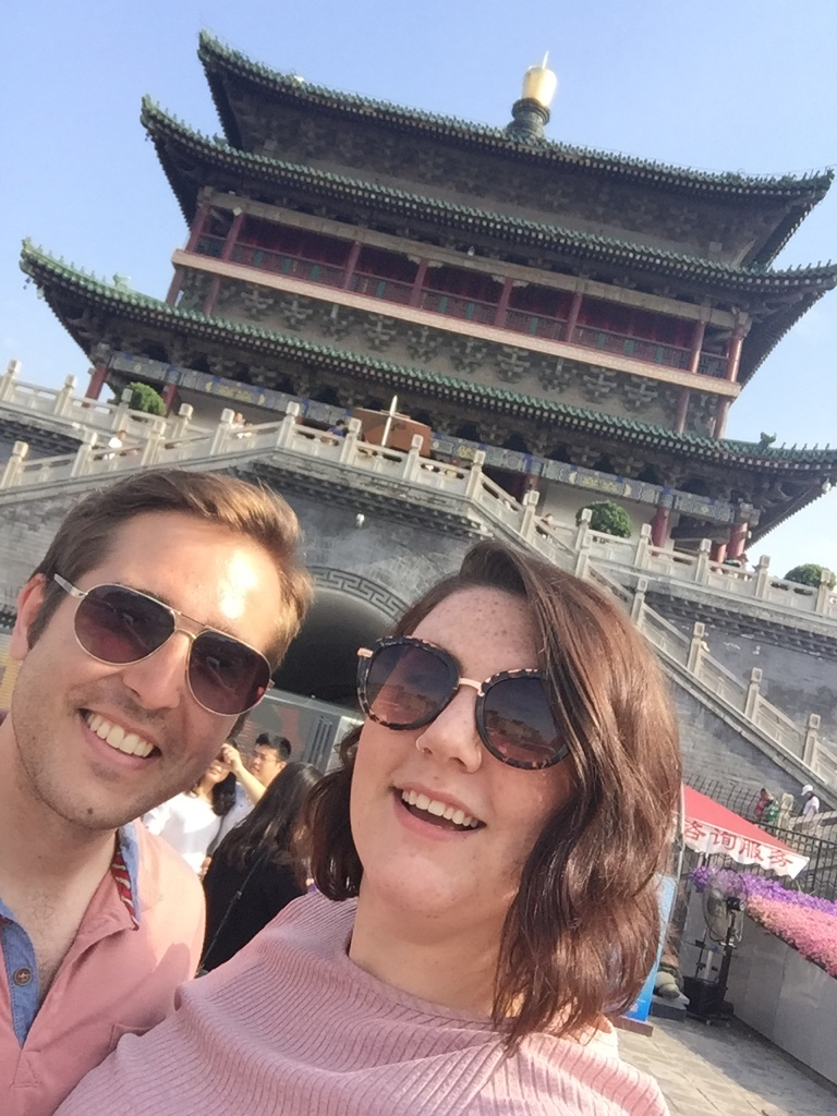 Selfie of Adam and Rose in front of the Bell Tower.