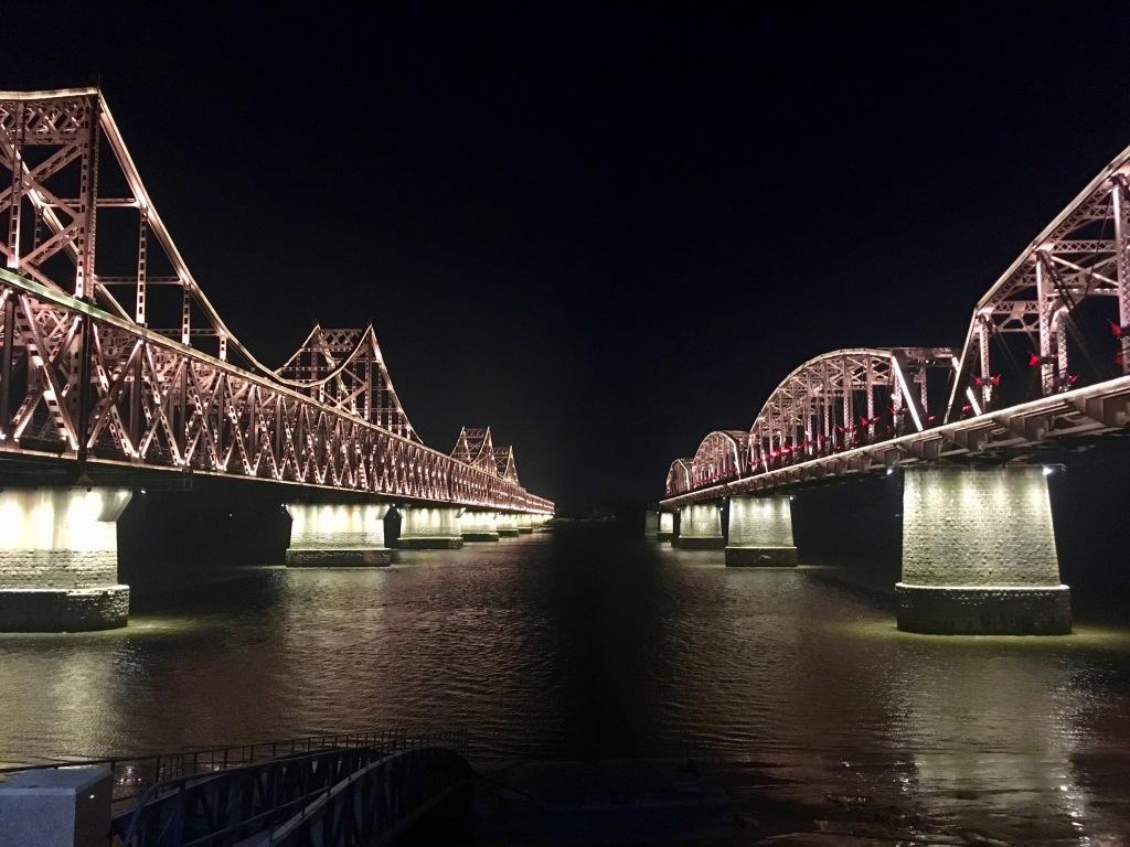 Friendship Bridge and Broken Bridge at night.