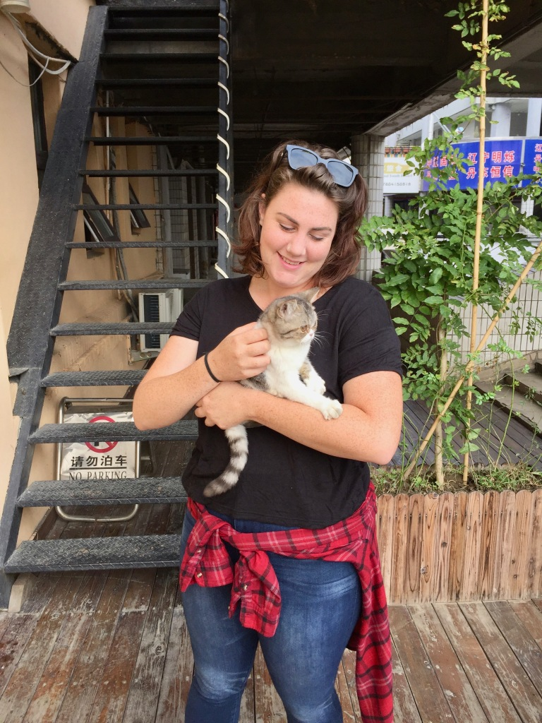Rose with the hostel cat.