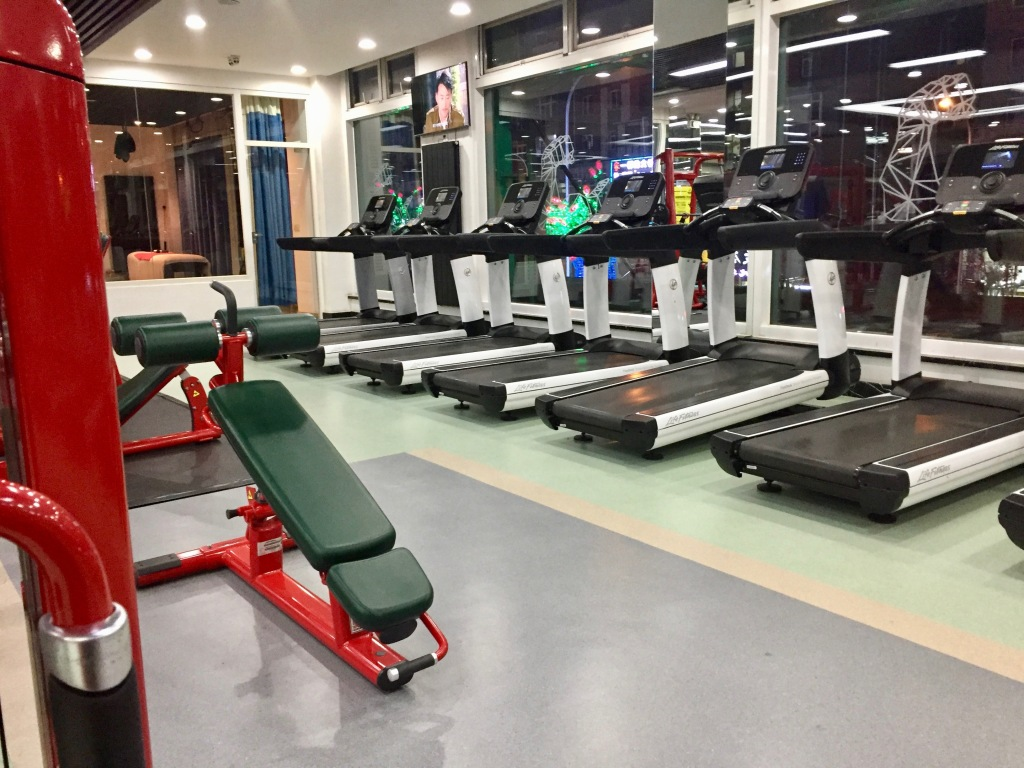 Treadmills and other equipment in a Chinese gym.