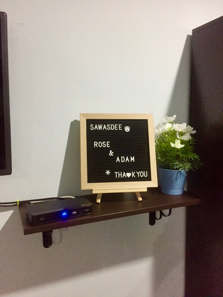 Lovely note left by host at Bangkok Airbnb.