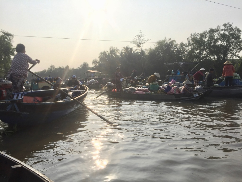 Floating market on the Mekong Delta