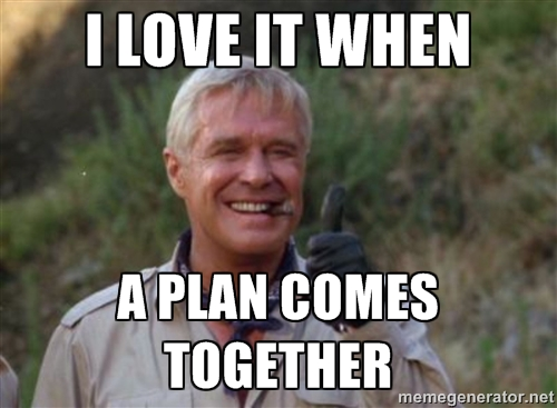 "Meme from the A-Team. ""I love it when a plan comes together."""