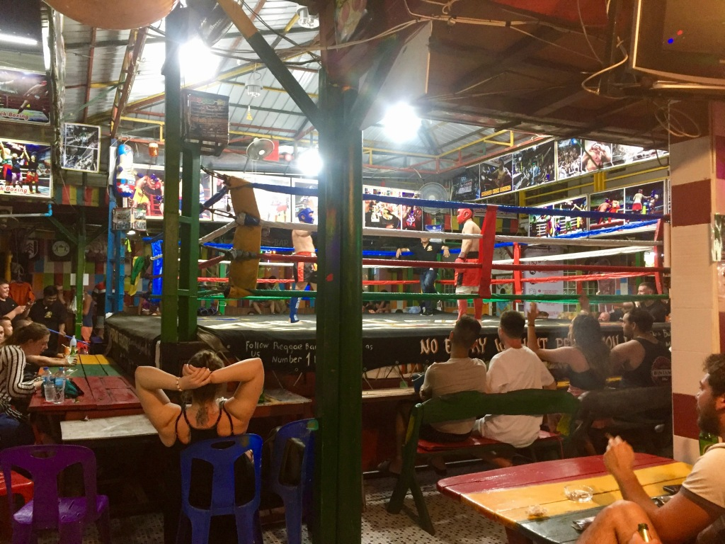 Muay Thai boxing ring inside Reggae Bar